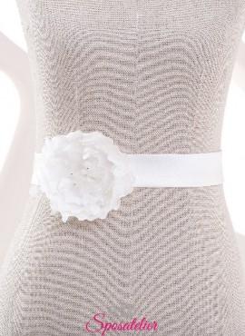 cintura con fiore di raso per abiti da sposa semplici collezione online 2019