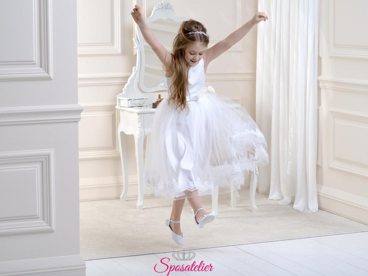 new styles a0178 39717 vestiti prima comunione bambina 2019 lungo fin sotto il ginocchio vendita  online