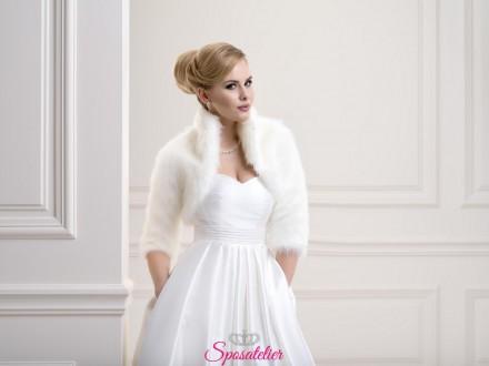 Pelliccia sposa con maniche 3/4 elegante nuova collezione 2019