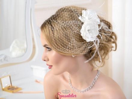 veletta sposa on line con fiore nuova collezione 2019 bianco o avorio