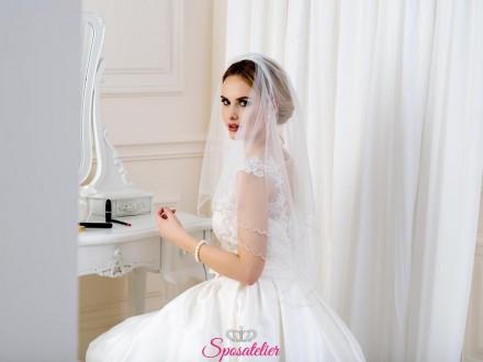 Velo da sposa corto decorato con perline e ricami collezione 2019
