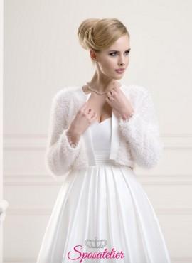 coprispalle sposa lana con dettagli di raso vendita online collezione 2019