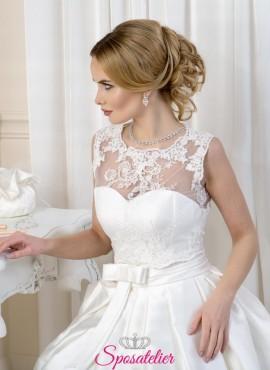Bolero sposa elegante ricamato in pizzo con scollo tondo Collezione 2019