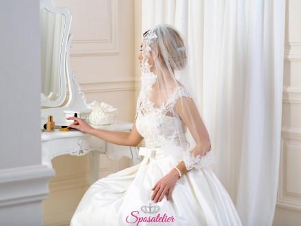 Velo da sposa online corto ricamato in pizzo collezione 2019