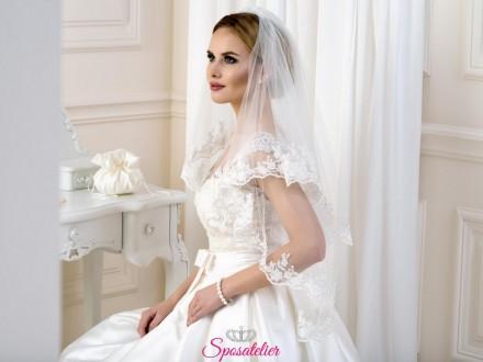 velo sposa con calata corto con bordo di pizzo collezione 2019