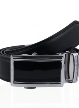 Cintura elegante in pelle con fibbia a placca lucida