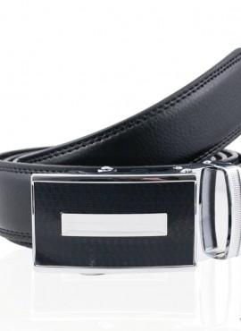 Cintura elegante in pelle con fibbia placca nero argento