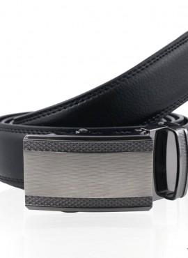 Cintura  in pelle alta qualità con fibbia a placca argento spazzolato