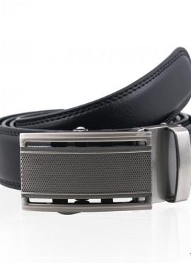 Cintura nera in pelle chiusura a placca scorrevole