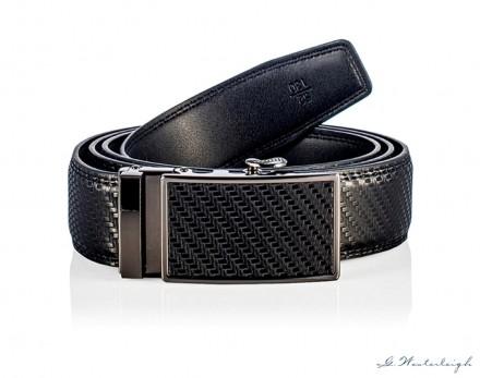 Cintura in pelle chiusura automatica effetto carbonio