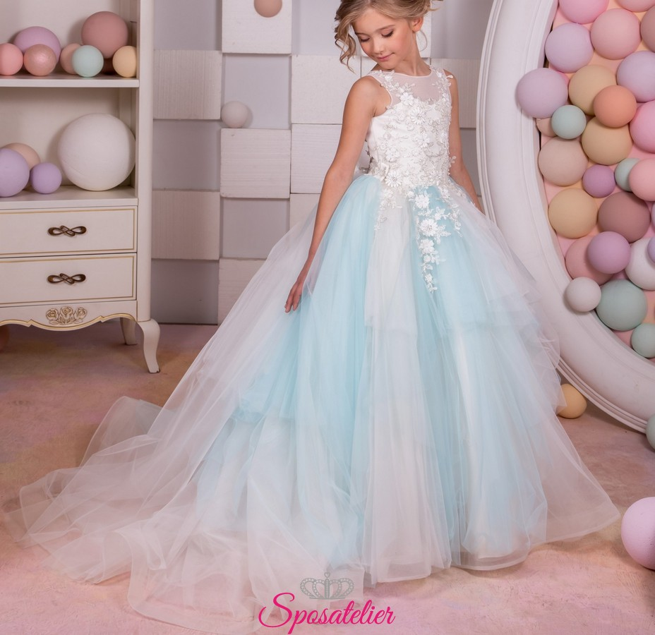 0b6b698fbb11 vestito prima comunione bambina voluminoso 2019 vendita online