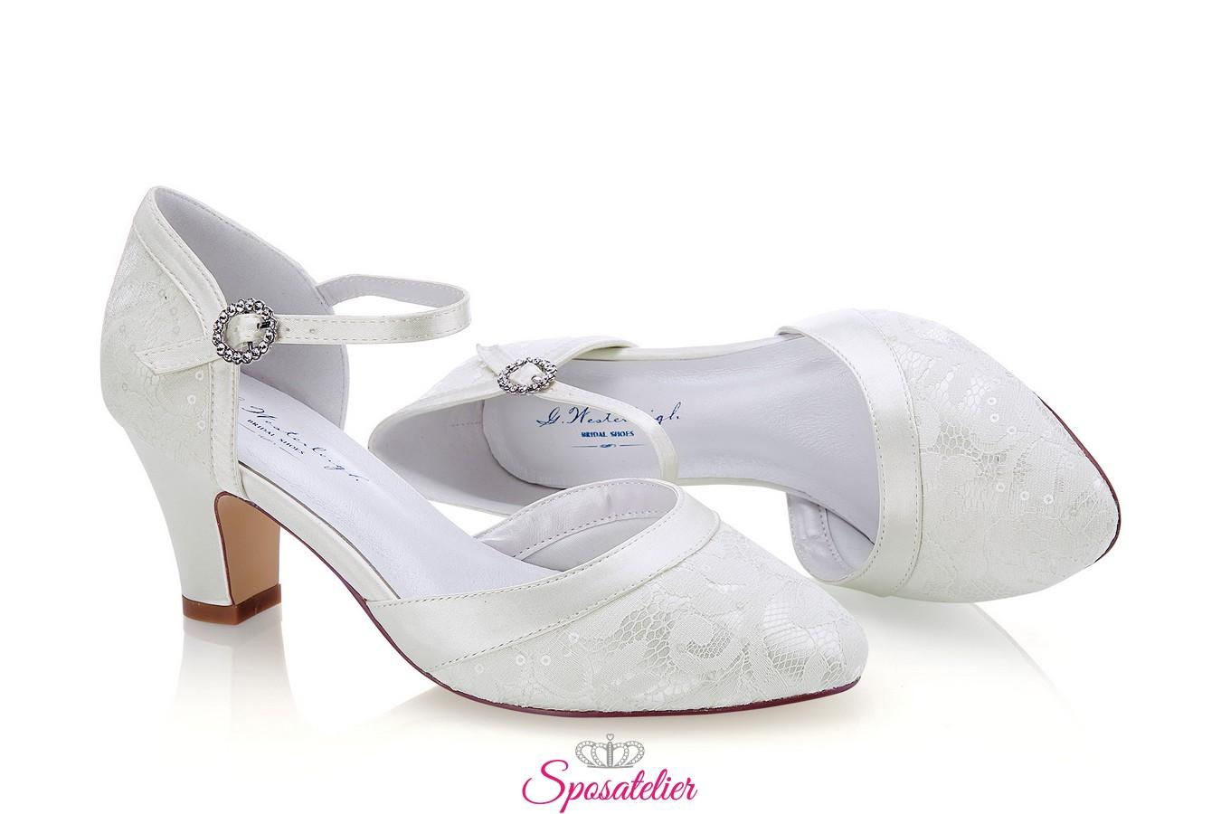 Scarpe Sposa Avorio Tacco 7.Scarpe Da Sposa Online Comode Con Tacco 7 Color Avorio Collezione