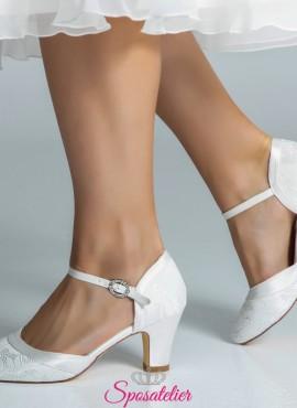 Scarpe da sposa online comode con tacco 7 color avorio collezione
