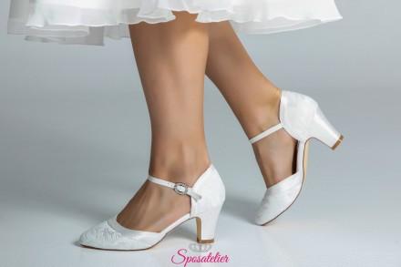 Scarpe da sposa online comode con tacco 7 color avorio collezione 2019