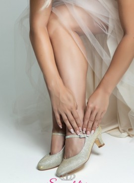 Scarpe da sposa champagne con tacco 5 cm collezione 2019 online