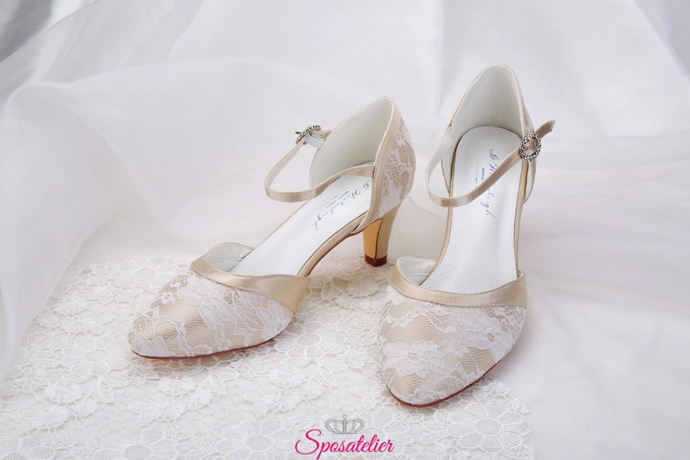 Scarpe Sposa Eleganti.Scarpe Da Sposa Color Nude Eleganti Con Ricami Di Pizzo Collezione