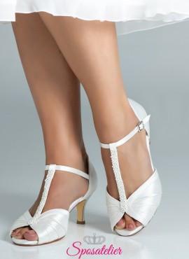 Scarpe da sposa avorio tacco 6 eleganti collezione 2019