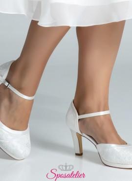 Scarpe da sposa online con tacco 8 largo color avorio collezione 2019
