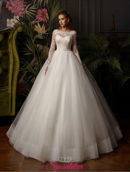abito da sposa principessa con pizzo e maniche lunghe collezione 2019