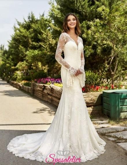 abito da sposa semplice ed elegante di tendenza con maniche a pipistrello collezione 2019