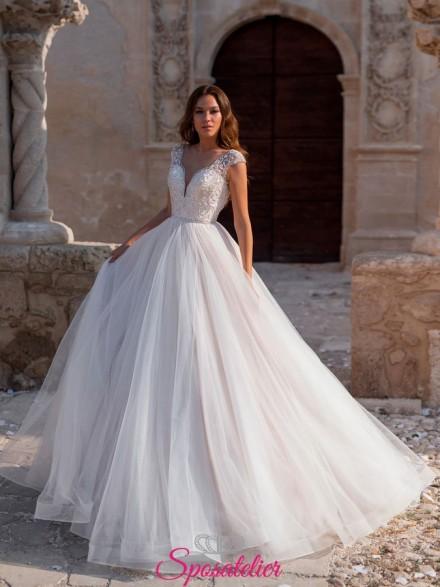 abiti da sposa 2019 anteprima vendita online Italia Gonna ampia e corpetto ricamato