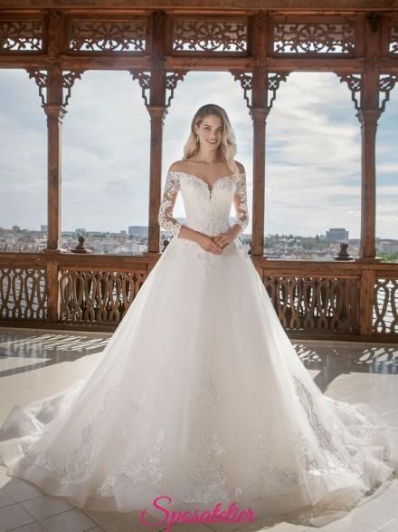 abiti da sposa con spalle scoperte 2019 Gonna ampia e corpetto a cuore