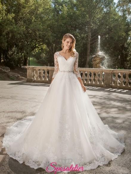 abiti da sposa con spalle coperte 2019 Gonna ampia e corpetto a cuore