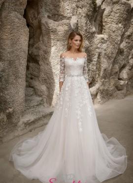abiti da sposa 2019 con gonna a line e corpetto con maniche di pizzo