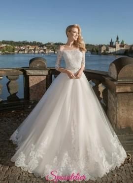 abiti da sposa 2019 ricamato in pizzo con scollo a barchetta