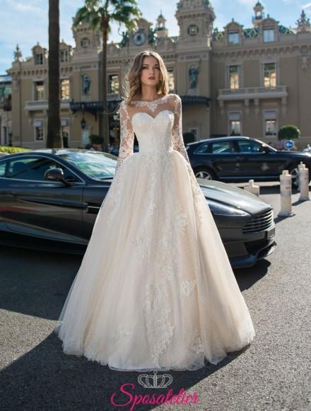 vestiti da sposa con maniche lunghe di pizzo online personalizzati su misura collezione 2019