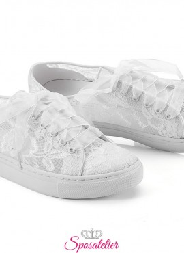 sneakers da sposa comode in pizzo trasparente color avorio vendita online