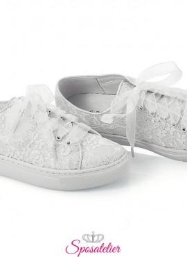 scarpe da ginnastica sposa in raso luccicante color avorio e pizzo