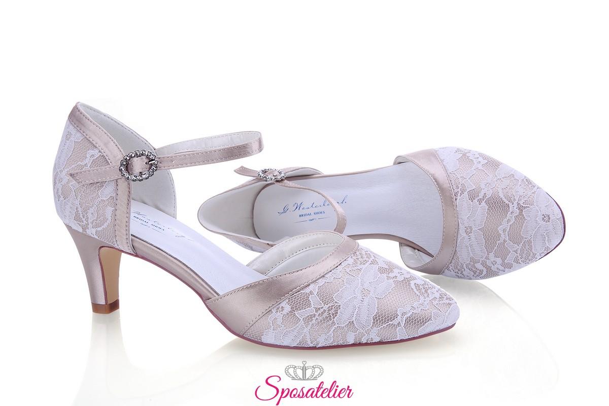 Scarpe Sposa Color Cipria.Scarpe Da Sposa Color Rosa Cipria Con Pizzo Tacco 6 Vendita Online