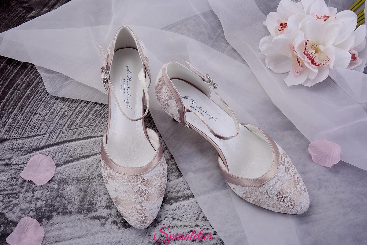 Scarpe Sposa Rosa Antico.Scarpe Da Sposa Color Rosa Cipria Con Pizzo Tacco 6 Vendita Online