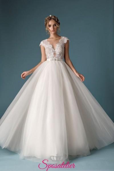 abiti da sposa con gonna morbida e corpetto di pizzo 2019 2020 di tendenza