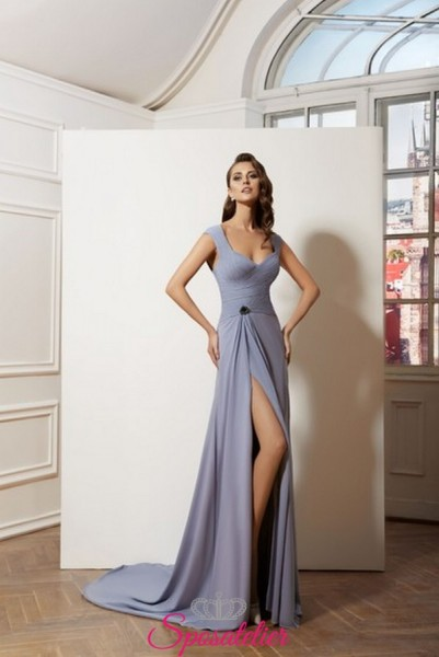 vestiti da cerimonia lunghi online in chiffon con spacco laterale elegante collezione 2019