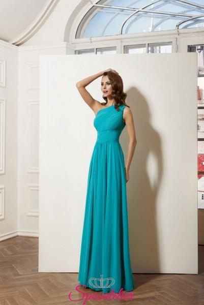 vestito da cerimonia vendita online italia modello monospalla realizzato in chiffon