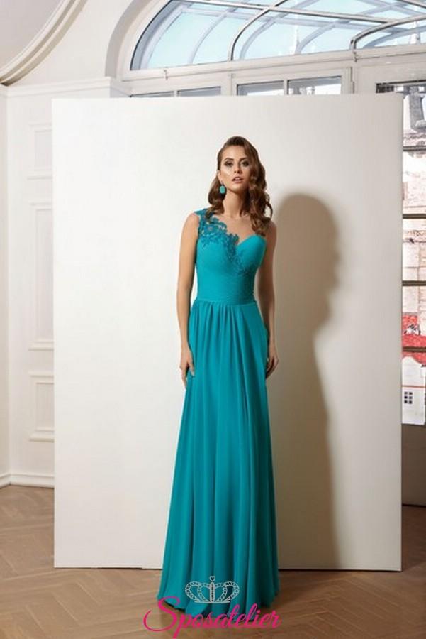 quality design 0e97a 19168 vestiti da cerimonia lunghi online in chiffon con ricami di pizzo sul  corpetto collezione 2019