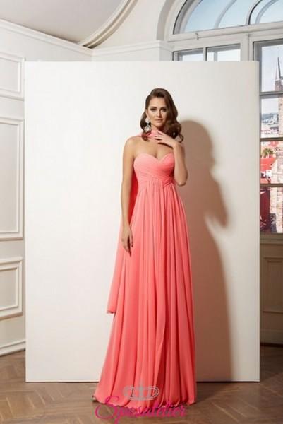 abiti da cerimonia online italia colore rosa collezione 2019 in chiffon