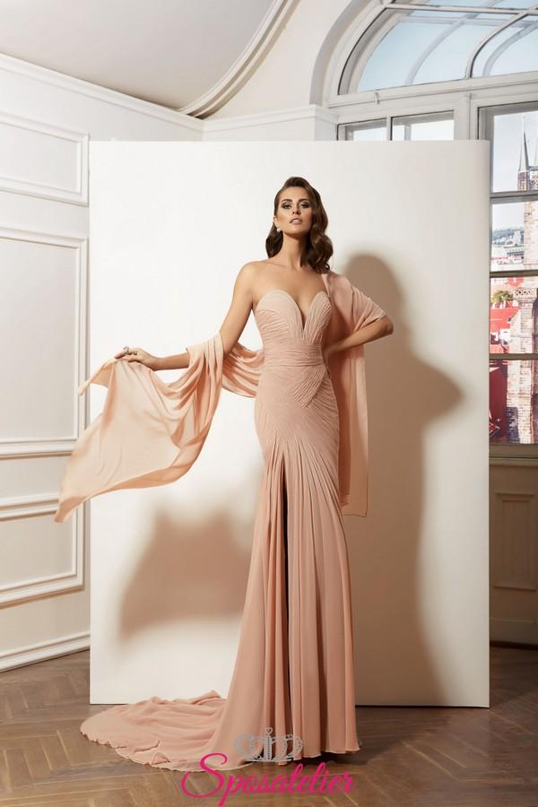 separation shoes 9a20e d183d abiti da cerimonia rosa online modello a sirena elegante in chiffon  collezione 2019