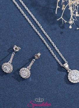 completo di gioielli sposa collana e orecchini pendenti collezione 2019