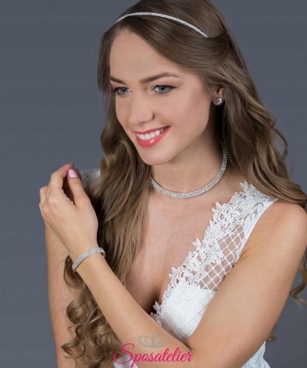 set gioielli da sposa decorati con cristalli e strass.economici online collezione 2019