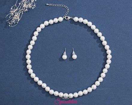 set di gioielli sposa decorato con perle lucide color avorio