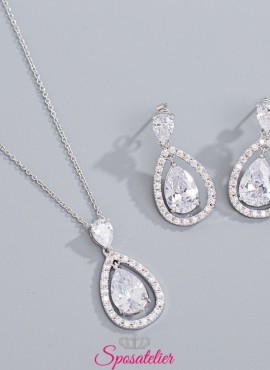 collana e orecchini sposa con pendente economici online collezione 2019