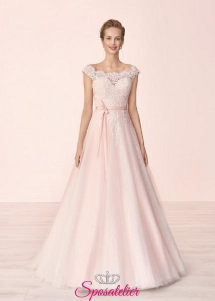 abiti da sposa  vendita online modelli rosa  colorati di tendenza sartoria italiana