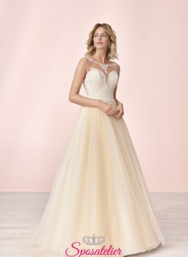 vestito da sposa ecoomico online con gonna colorata e ricami in pizzo