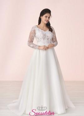 abiti da sposa economici taglie comode con maniche lunghe collezione 2020