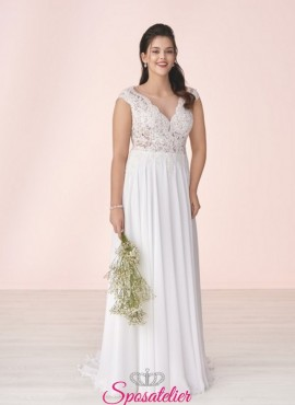abiti da sposa curvy 2019 con scollo a V online sito Italiano
