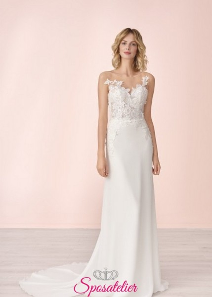 vestito da sposa semplice online con ricami in pizzo collezione 2020