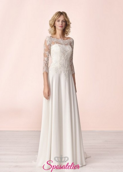 vestito da sposa semplice online con maniche ricamate in pizzo collezione 2020